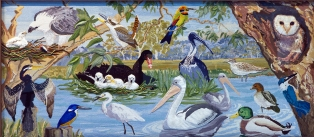 Birds of the Waterways, Panel 2. Designed by Dianne Hoath, completed in 2011.